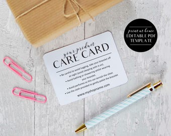 Editable Care Cards Template, INSTANT DOWNLOAD, Online Sellers, Etsy Sellers, Printable Packaging, Care Cards, Product Instruction Cards