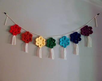 Chakra Wall Hanging, Crochet Mandala, Meditation, Yoga Decor, Chakra Balancing, Chakra Banner, Rainbow Wall Hanging, Yoga Gift, Hippie Decor
