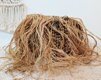 Vintage Brown and Tan Jungle Fray Basket / Woven Planter