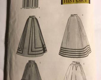 Butterick historical skirts, late 19th century. Sizes 12, 14, 16