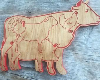 Wooden Farmhouse Farm Animal Decor Kitchen Country Decor Cow Chicken Turkey Pig