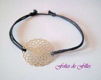 Fine silver print and lace black waxed cotton cord bracelet