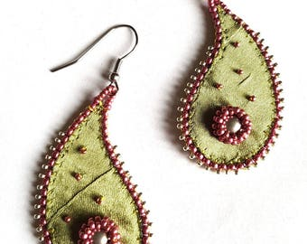 Embroidered earrings, bohemian spirit, satin fabric drops, surgical steel