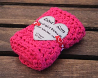 Pink Cotton Washcloth | Pink Washcloth | Pink Dishcloth | Valentine's Day | Gift for Her | Crochet Washcloth | Crochet Dishcloth