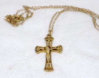 Vintage 1970's Solid 9ct Yellow Gold Crucifix And Chain Hallmarked Form Birmingham