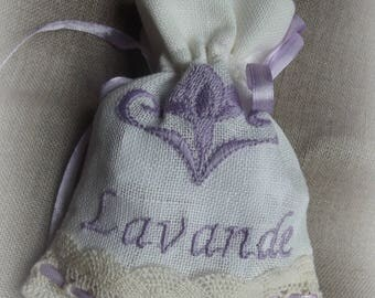 made of linen and embroidered with purple color Lavender sachet