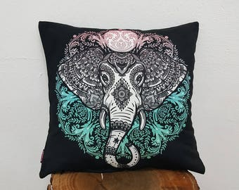 Ethnic Elephant Printed Pillow Case Black white and Azur Cushion Cover Bohemian