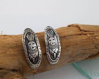Sterling silver rabbit earrings Southwestern Native American Easter earrings sterling earrings for her OY2650
