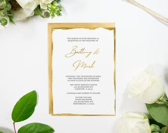 Gilded Edge Wedding Invitation, Gold Foil, Elegant, Script, Handmade, Modern Also Available in rose gold, copper, silver foil