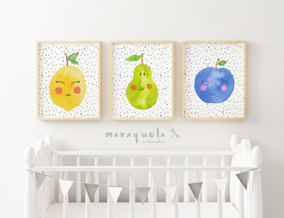 FRUITS Set for baby.Set 3 watercolor fruit for kids and babies. Lemon pear and apple smiling