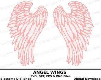 Angel wings svg cut file, digital download, svg wing, feathered wings template, angelic wings svg, wing dxf file, wing eps, wings clipart