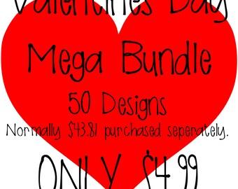 Valentines SVG MEGA Bundle - 50 Designs - Huge Sale - 89% off!