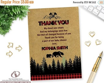 ON SALE Lumberjack Baby Shower THANK You Card, Lumberjack Boy shower printable invite, Bear baby shower, Thank you card, Lumberjack, Forest,