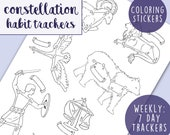 Habit Tracker Planner Stickers: Constellation Weekly Habit Trackers, Star Sign Sticker, Coloring A5 Planner Page, Hand-Drawn Printable Art