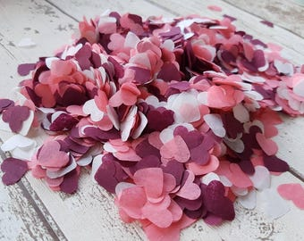 Burgundy ( marsala) white and coral mix heart confetti!Wedding,party decoration,throwing! Romantic Biodegradable 2- 10 handfuls
