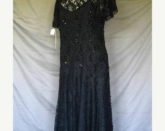 On Sale Art Deco Style 80's Drop Waist Dress Black Lace Over Satin Short Sleeves Size 10