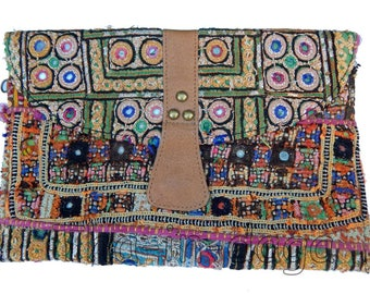 Banjara old Hippie Chic fabric & leather pouch Bohemian India 15 30x20cm