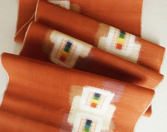 Japanese Vintage Silk Kimono Textile - Meisen 銘仙 - with Geometric Kasuri Pattern / by the yard