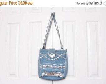 25% OFF Vtg 80s Jean Denim Silver Braided Urban Hip Hop Handbag Purse Shoulder Bag