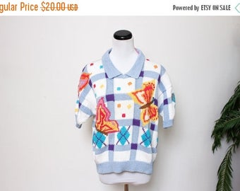 25% OFF VTG 80s Berek Novelty handknit Butterfly Plaid Argyle Ugly Sweater M/L