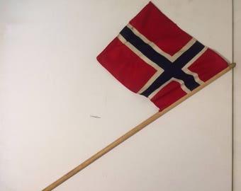 Vintage Norwegian Flag, Norway Flag, Flag Decor, Boat Flag, Red Flag, Wooden Flag, Castle Flag.