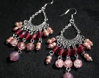 Earrings American ties with red and pink glass beads and silver plated metal connectors