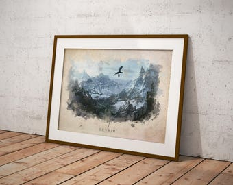 Skyrim Abstract Watercolor Poster