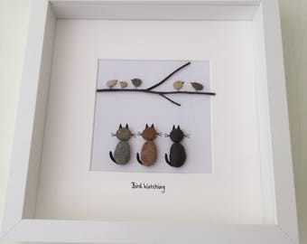 Handmade Beach Pebble Art Picture of Three Cheeky Cats Watching The Birds. Unique Gift, Cat Lover