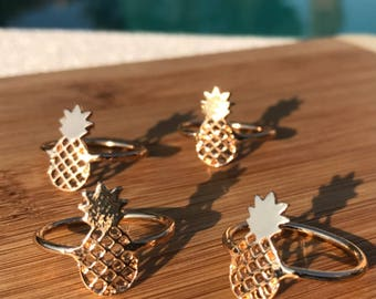 Pineapple Ring, Gold Pineapple ring, silver pineapple ring, Pineapple, Gift for Her, Pineapple Fashion Jewelry, Girls, Silver, Gold, Ring