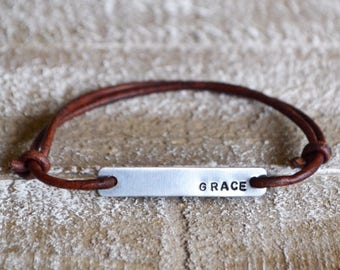 Grace bracelet, leather wrap bracelet, best friend bracelet, stamped bracelet, leather bracelet, womens bracelet, custom bracelet