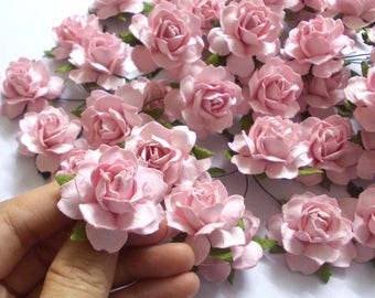 "10 Paper Flowers (Size 1.5"") Mulberry Paper Craft flower, Paper flower craft wedding, Wedding, Bouquets, Light Pink Paper Roses."