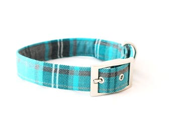 Handmade aqua/grey tartan dog collar with silver metal buckle