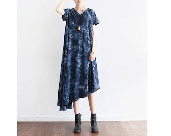 Womens Summer Loose Fitting Printed Floral Irregular Patchwork Cotton Linen Dress, Womans Casual Dress, Long Dress, Travel Dress,Beach Dress