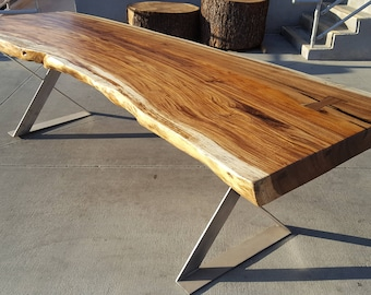 """117""""L Solid Slab Acacia Wood, Live Edge Dining Table Hand Crafted 051"""