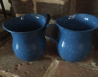 Set of Two Vintage Enamel Pitchers