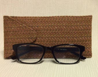 Welsh tweed glasses/spectacles case in tan