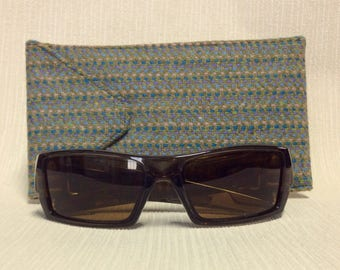 Welsh tweed wider glasses/spectacles/sunglasses case in blue