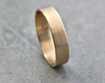 Men's Gold Wedding Band, Unisex 5mm Wide Brushed Flat 10k Recycled Yellow Gold Eco Wedding Ring Gold Ring -  Made in Your Size