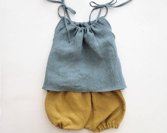 Eco Friendly Baby Linen Clothes, Children Linen Outfit, Pillowcase Top and Bloomers Set, For 1st Birthday