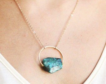 Arch Chrysocolla Turquoise Necklace | Chrysocolla Necklace | Blue Stone Necklace |  Green Stone Necklace | Gold Turquoise Necklace