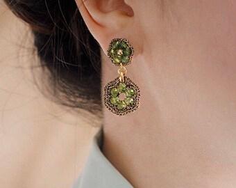 PERIDOT GREEN JEWELRY / gift ideas for women / light green dangle post earrings / dressy earrings / hypoallergenic earrings
