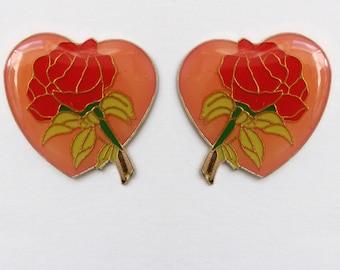 Vintage Red Rose in Pink Heart Enamel Pinback Pin
