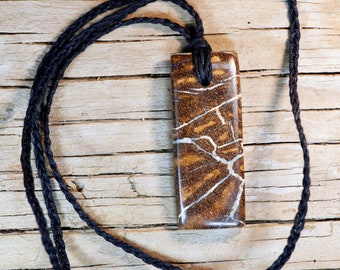 Striking Koroit Matrix Boulder Opal Rectangle Pendant on Braided Waxed Cord Necklace , Tribal Art