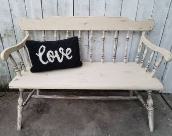 Farmhouse Bench Shabby Chic Vintage Wood Bench French Country Bench Yellow Cottage Chic Bench Rustic Decor