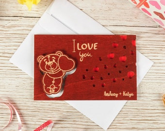 """Wood LOVE card, wood VALENTINES card, wood greeting card, valentines gift, wood, card, love, gift, wooden,  love card """"Owl"""" PERSONALIZED"""