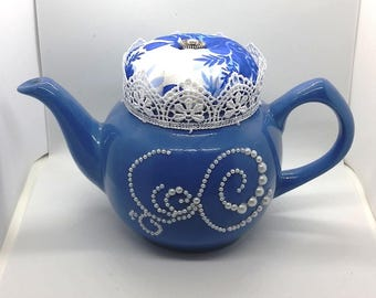 Teapot Pin Cushion - Dainty Blue
