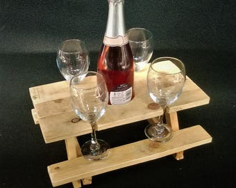 The original Picnic table bench wine bottle and four wine glass holder