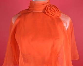 Miss Elliette California Orange/Red Maxi Gown Small Size