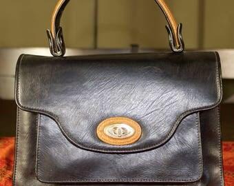 Black and Tan Vinyl Top Handle Handbag