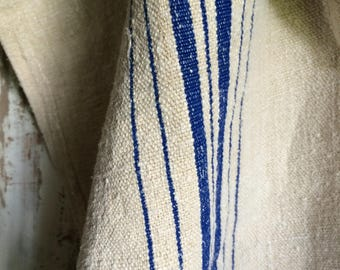 French Grain Sack - Cobalt Blue Stripe
